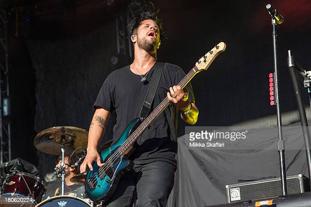 Bassist Tobin Esperance of Papa Roach performs in Monster Energy's Aftershock Festival at Discovery Park on September 14 2013 in Sacramento California