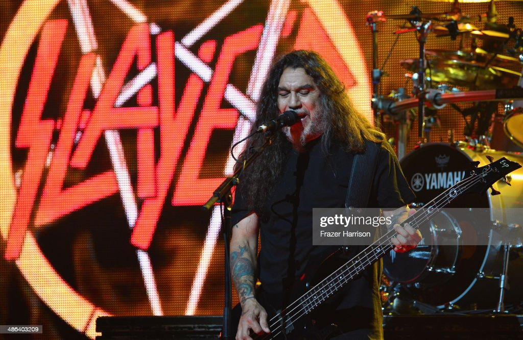 Bassist Tom Araya of Slayer performs at the 6th Annual Revolver Golden Gods Award Show at Club Nokia on April 23, 2014 in Los Angeles, California.