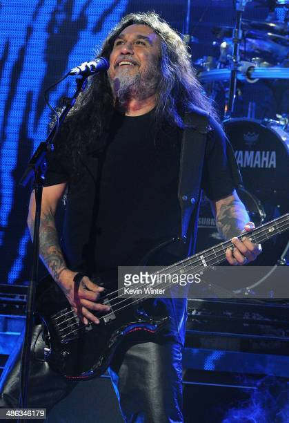 Bassist Tom Araya of Slayer performs onstage at the 2014 Revolver Golden Gods Awards at Club Nokia on April 23 2014 in Los Angeles California