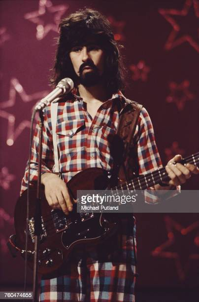 Bassist Tom Evans of British rock band Badfinger filming a performance of 'Day After Day' to be used as an insert for the 'Top Of The Pops' music...