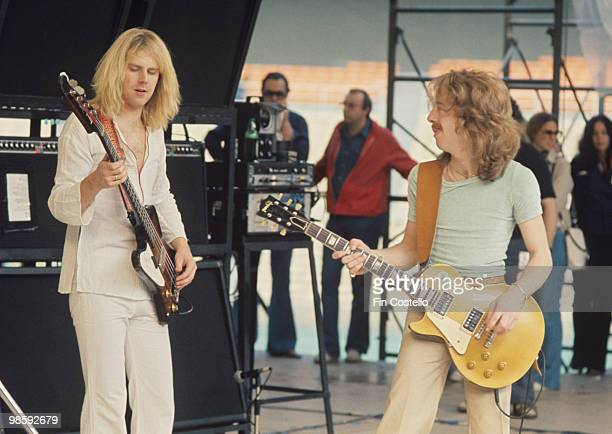 Bassist Tom Hamilton and guitarist Brad Whitford of Aerosmith perform on stage at the RFK Stadium in Washington DC on May 30 1976