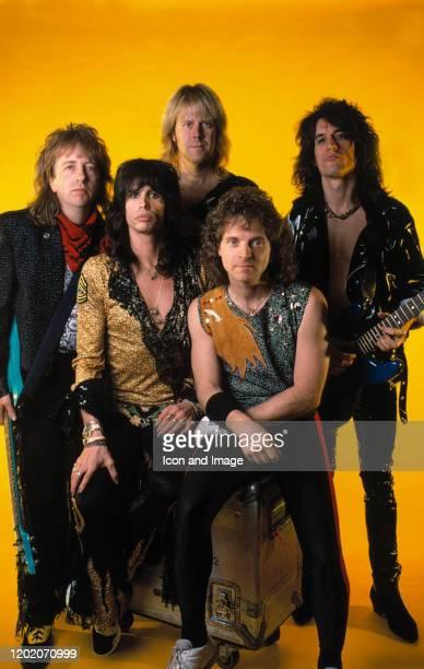 Bassist Tom Hamilton lead singer Steven Tyler guitarist Brad Whitford drummer Joey Kramer and lead guitarist Joe Perry all of the rock group...