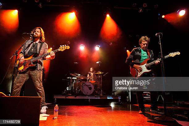 Bassist / vocalist Rob Giles drummer Emmanuelle Caplette and guitarist Andy Summers perform at Circa Zero's first live performance at El Rey Theatre...