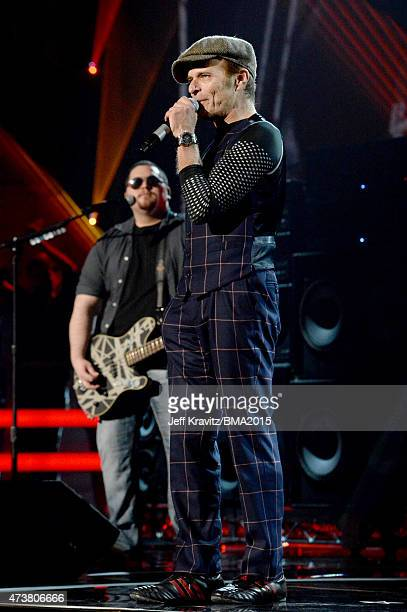 Bassist Wolfgang Van Halen and singer David Lee Roth of Van Halen perform onstage during the 2015 Billboard Music Awards at MGM Grand Garden Arena on...