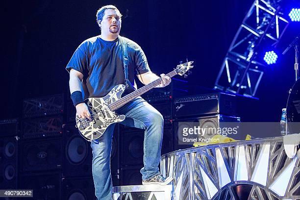 Bassist Wolfgang Van Halen of Van Halen performs on stage at Sleep Train Amphitheatre on September 30, 2015 in Chula Vista, California.