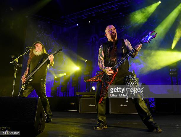 Bassist/singer Tom Araya and guitarist Kerry King of Slayer perform at The Joint inside the Hard Rock Hotel Casino on March 26 2016 in Las Vegas...