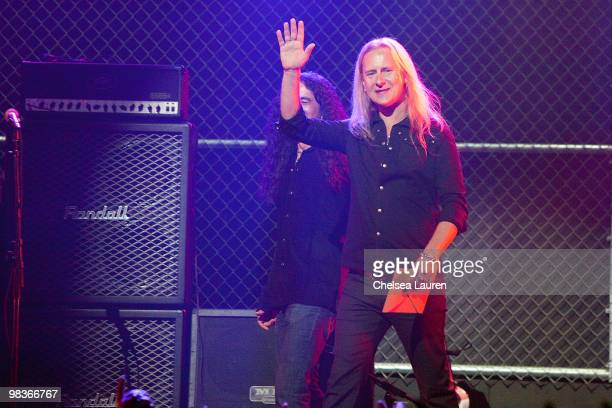 Bassit Mike Inez and guitarist Jerry Cantrell of Alice In Chains on stage at the 2nd Annual Revolver Golden Gods Awards at Club Nokia on April 8 2010...