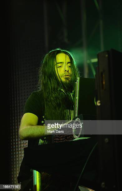 Bassnectar performs onstage during day 1 of the 2013 Coachella Valley Music Arts Festival at the Empire Polo Club on April 12 2013 in Indio California