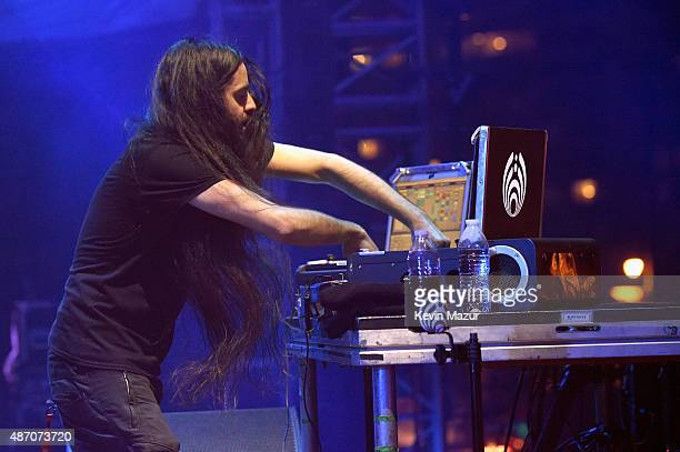 Bassnectar performs onstage during the 2015 Budweiser Made in America Festival at Benjamin Franklin Parkway on September 5 2015 in Philadelphia...