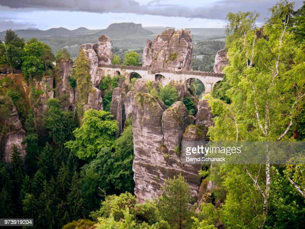 bastei and elbe sandstone mountains - bernd schunack stock-fotos und bilder