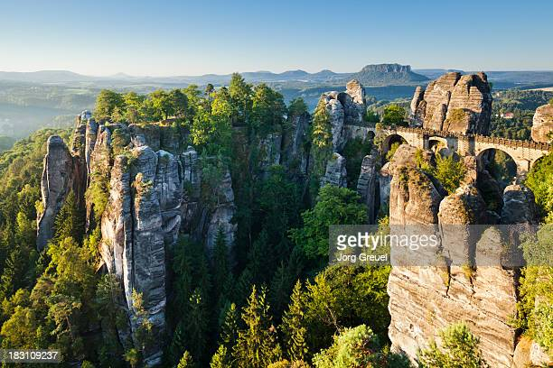 bastei at sunrise - saxony stock pictures, royalty-free photos & images