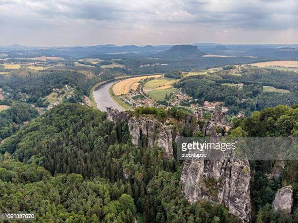 bastei bridge at saxon switzerland national park - saxony stock pictures, royalty-free photos & images