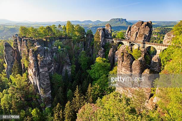 bastei bridge in saxon switzerland, germany - saxony stock pictures, royalty-free photos & images