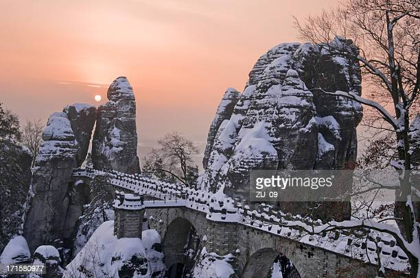 Bastei bridge in winter, Saxon Switzerland