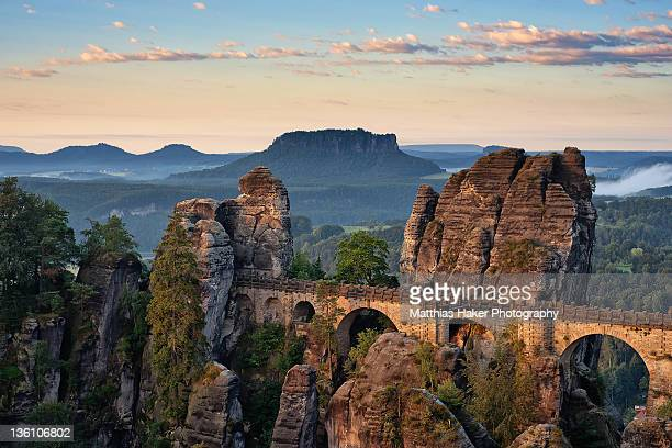 bastei bridge - saxony stock pictures, royalty-free photos & images