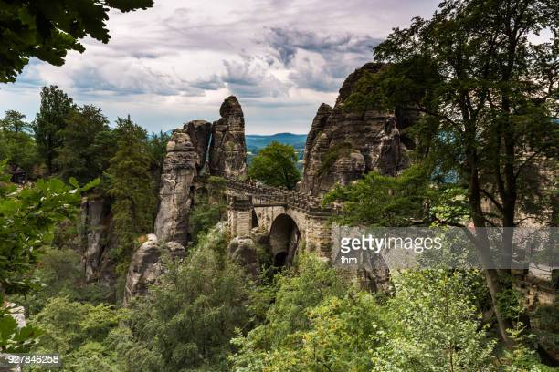 Bastei-Bridge - Landscape in the Elbe Sandstone Mountains/ Elbe sandstone highlands (German: Elbsandsteingebirge), Saxony/ Germany