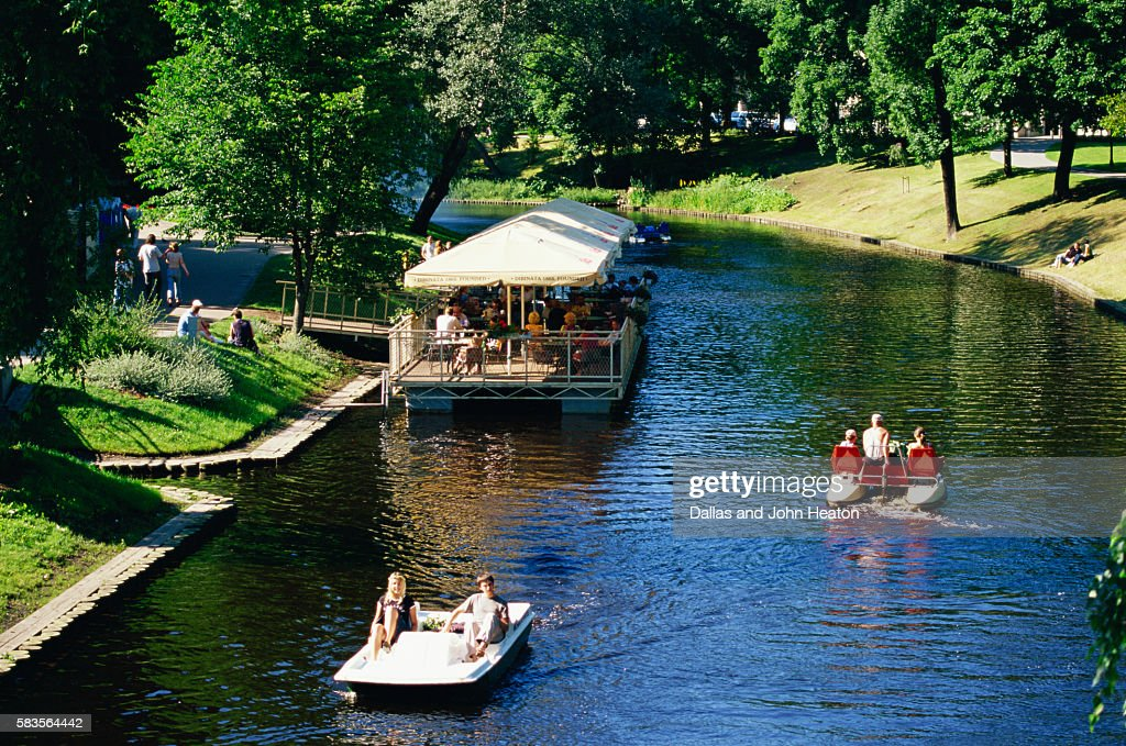 Bastejkains Park, Pilsetas Canal, Riga, Latvia : Stock Photo