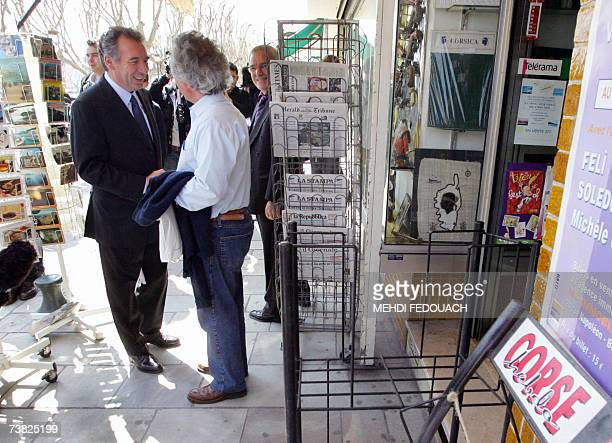 French centrist party UDF presidential candidate Francois Bayrou meets people during a campaign trip in Bastia Corsica 06 April 2007 Bayrou unveiled...