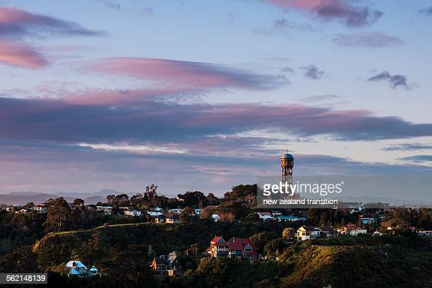 bastia hill water tower with sunset light