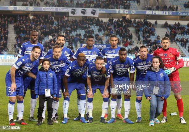 Bastia team Line up during the French Ligue 1 match between Bastia and Monaco at Stade Armand Cesari on February 18 2017 in Bastia France