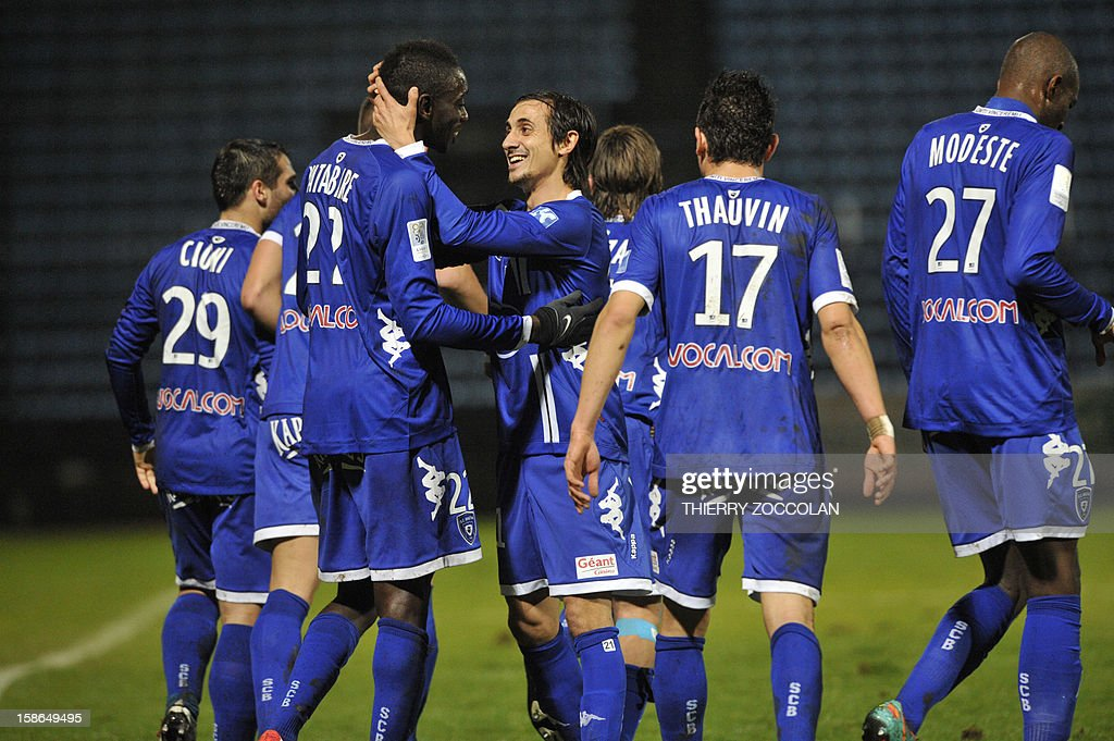 Bastia team players celebrate after the scoring of a goal during the French L1 football match Bastia vs Nancy, on December 22, 2012, at the Jean Laville stadium in Gueugnon.