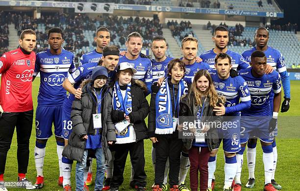Bastia team with childrens sick during the French Ligue 1 match between Bastia and Nice at Stade Armand Cesari on January 21 2017 in Bastia France