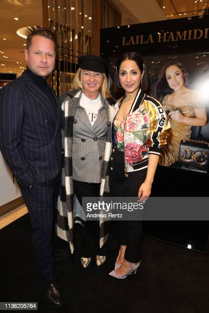 Bastian Ammelounx Evelyn Hammerstroem and Laila Hamidi attend the 'Easy to pack brushes' launch by Laila Hamidi at Breuninger on March 16 2019 in...