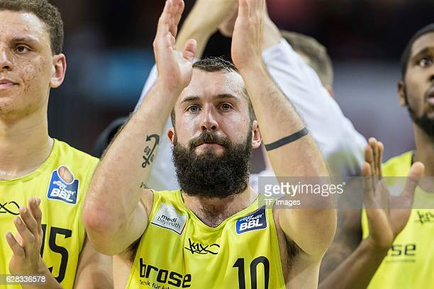 Bastian Doreth of medi bayreuth gestures during the easyCredit BBL match between FC Bayern Muenchen and medi bayreuth at Audi Dome on December 03...