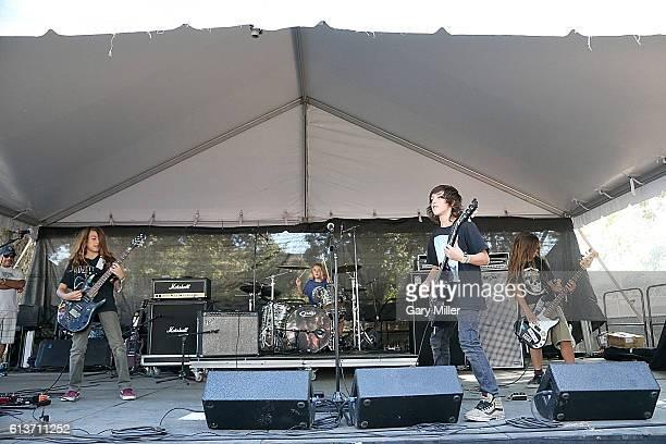 Bastian Evans Kai Neukermans Bryan Ferretti and Tye Trujillo of The Helmets perform in concert during the Austin City Limits Music Festival at Zilker...