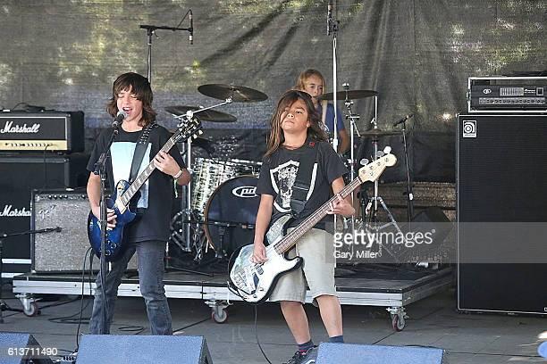 Bastian Evans Tye Trujillo and Kai Neukermans of The Helmets perform in concert during the Austin City Limits Music Festival at Zilker Park on...