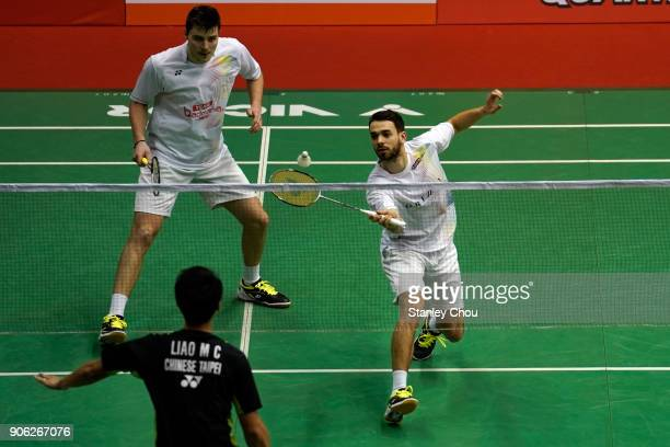 Bastian Kersaudy and Julian Maio of France in action during the Men's doubles round one match of the Perodua Malaysia Masters 2018 at the Axiata...