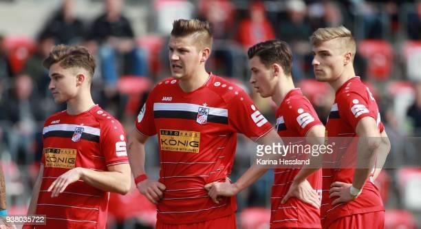 Bastian Kurz Marcel Kaffenberger Theodor Bergmann and Elias Huth of Erfurt look dejected during the third Liga match between FC Rot Weiss Erfurt and...