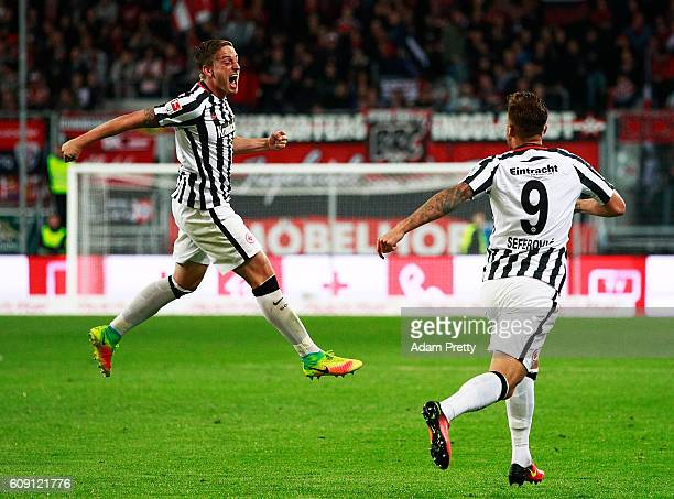 Bastian Oczipka of Eintracht Frankfurt celebrates scoring the second goal during the Bundesliga match between FC Ingolstadt 04 and Eintracht...