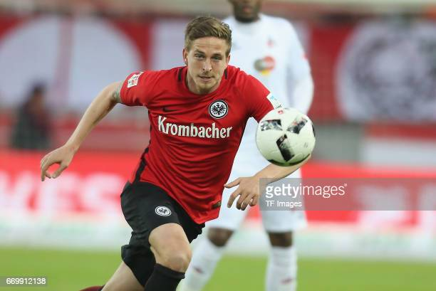 Bastian Oczipka of Eintracht Frankfurt controls the ball during the German Bundesliga soccer match between 1 FC Cologne and Eintracht Frankfurt in...