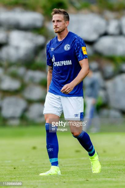 Bastian Oczipka of FC Schalke 04 looks on during the preseason friendly match between Schalke 04 and FC Villarreal at Saalfelden Arena on August 2...