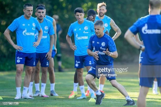 Bastian Oczipka of FC Schalke 04, Nassim Boujellab of FC Schalke 04, Alessandro Schoepf of FC Schalke 04, Athletic coach Werner Leuthard of FC...