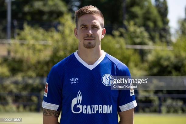 Bastian Oczipka of FC Schalke 04 poses during the team presentation at Veltins Arena on July 16 2018 in Gelsenkirchen Germany