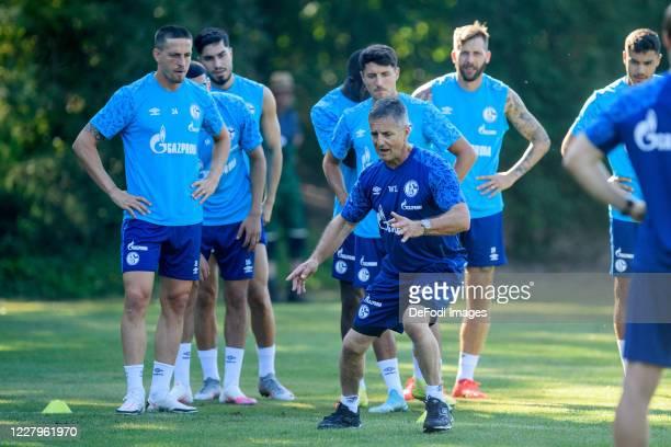 Bastian Oczipka of FC Schalke 04, Suat Serdar of FC Schalke 04, Alessandro Schoepf of FC Schalke 04, Athletic coach Werner Leuthard of FC Schalke 04...