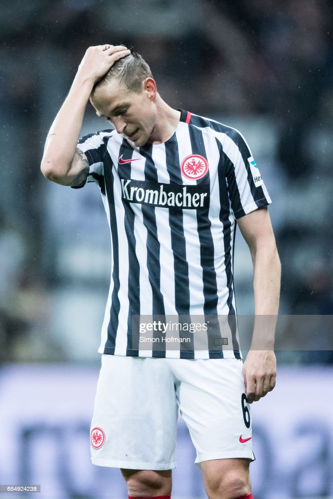 Bastian Oczipka of Frankfurt reacts during the Bundesliga match between Eintracht Frankfurt and Hamburger SV at Commerzbank-Arena on March 18, 2017 in Frankfurt am Main, Germany.