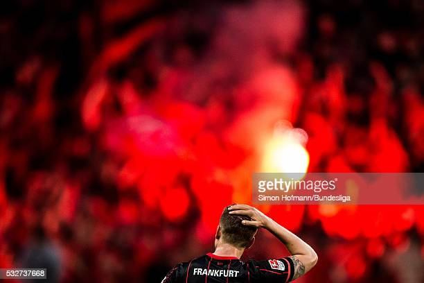 Bastian Oczipka of Frankfurt reacts during the Bundesliga Playoff Leg 1 match between Eintracht Frankfurt and 1 FC Nuernberg at CommerzbankArena on...