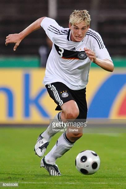 Bastian Oczipka of Germany runs with the ball during the men's U20 International friendly match between Germany and Austria at the Heidewald stadium...