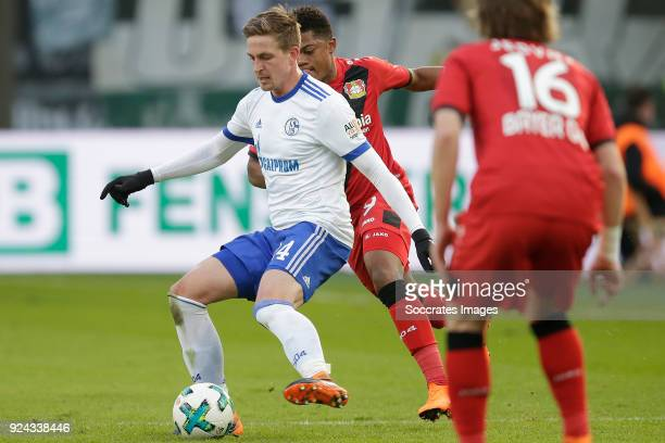 Bastian Oczipka of Schalke 04 Leon Bailey of Bayer Leverkusen during the German Bundesliga match between Bayer Leverkusen v Schalke 04 at the...