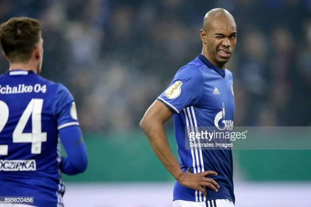 Bastian Oczipka of Schalke 04 Naldo of Schalke 04 during the German DFB Pokal match between Schalke 04 v 1 FC Koln at the Veltins Arena on December...