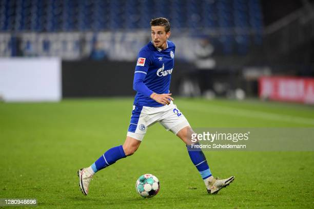 Bastian Oczipka of Schalke controls the ball during the Bundesliga match between FC Schalke 04 and 1. FC Union Berlin at Veltins-Arena on October 18,...