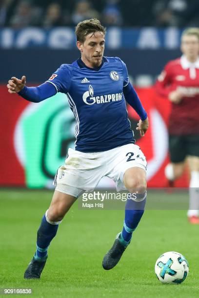 Bastian Oczipka of Schalke controls the ball during the Bundesliga match between FC Schalke 04 and Hannover 96 at VeltinsArena on January 21 2018 in...