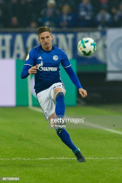 Bastian Oczipka of Schalke controls the ball during the DFB Cup match between FC Schalke 04 and 1 FC Koeln at VeltinsArena on December 19 2017 in...