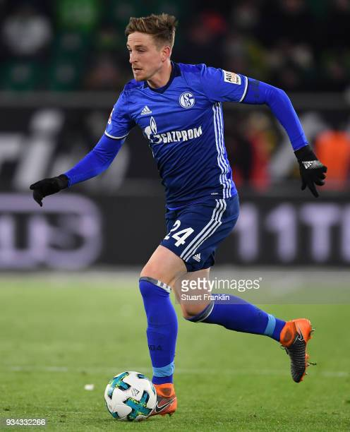 Bastian Oczipka of Schalke in action during the Bundesliga match between VfL Wolfsburg and FC Schalke 04 at Volkswagen Arena on March 17 2018 in...