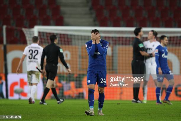 Bastian Oczipka of Schalke reacts after the Bundesliga match between FC Augsburg and FC Schalke 04 at WWK-Arena on December 13, 2020 in Augsburg,...