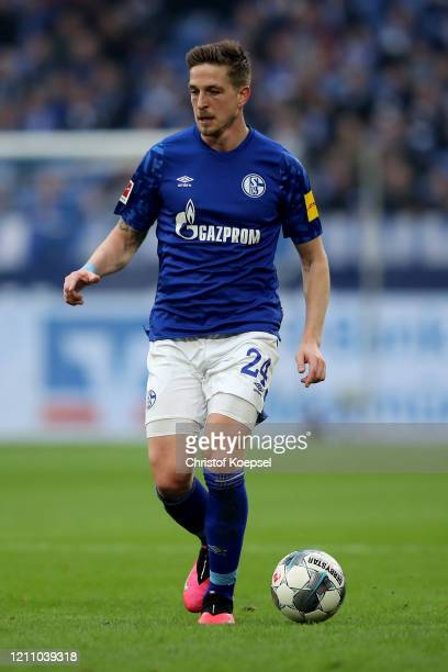 Bastian Oczipka of Schalke runs with the ball during the Bundesliga match between FC Schalke 04 and TSG 1899 Hoffenheim at Veltins-Arena on March 07,...
