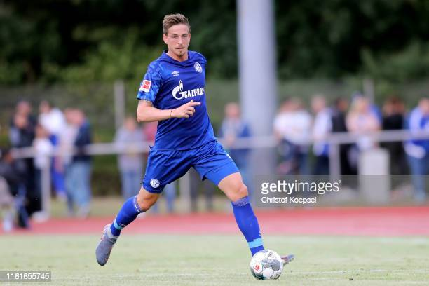 Bastian Oczipka of Schalke runs with the ball during the preseason friendly match between Stadtauswahl Bottrop and FC Schalke 04 at Jahnstadion on...